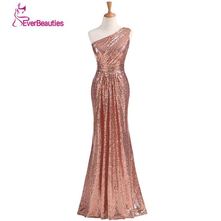 Sparkly Bridesmaid Dresses Long Sequins 2018 Rose Gold Wine Red Blue One-shoulder Colorful Vestidos De Madrinha De Casamento