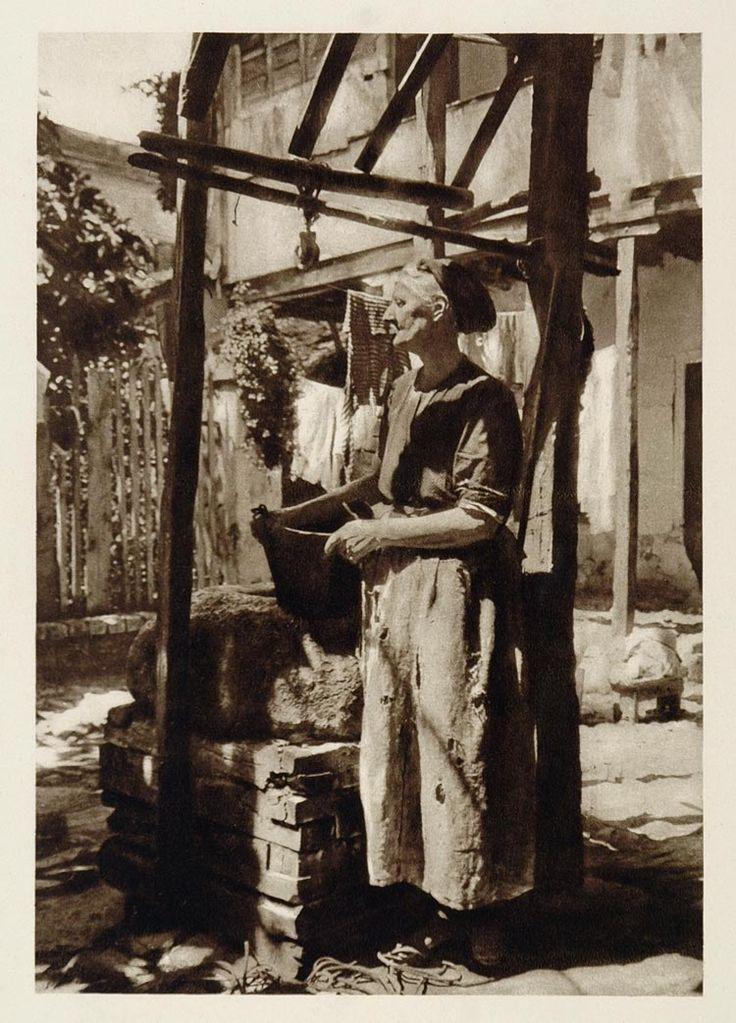 1928 Old Woman Well Salonica Thessaloniki Greece - ORIGINAL PHOTOGRAVURE (on Ebay)