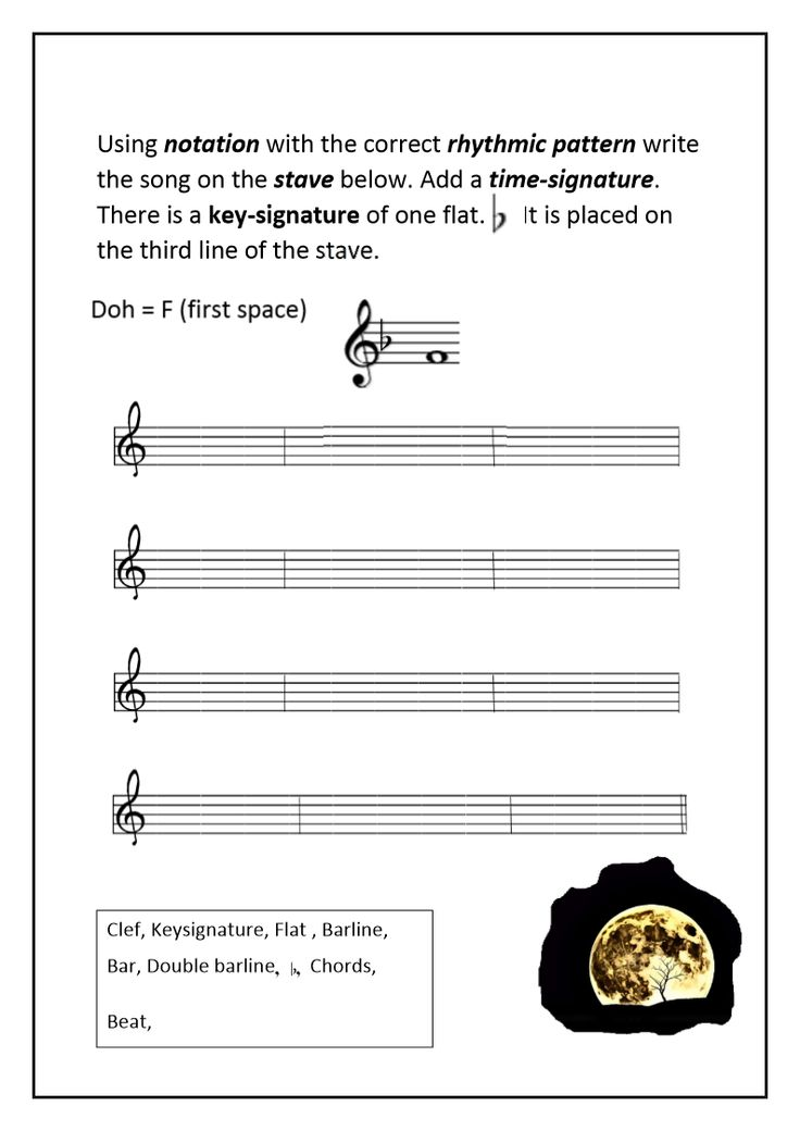 Use information from previous sheets to write song on staff.