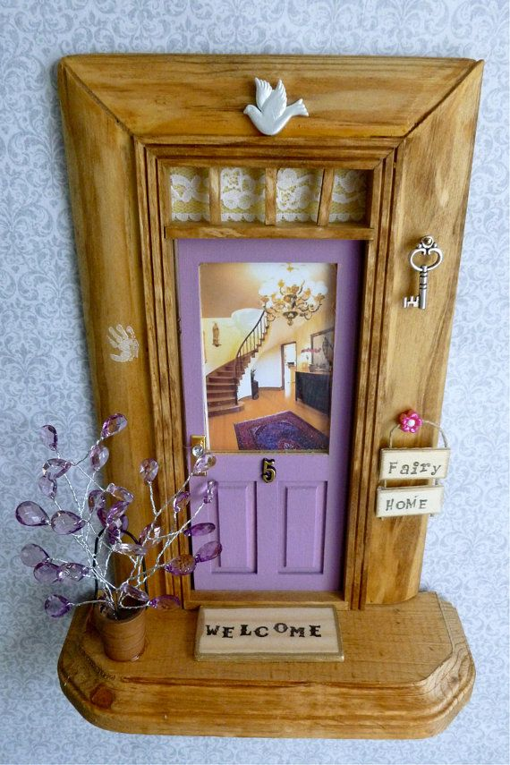 Fairy Door - Lavender Purple w/Wood Stained Trim - Winding Staircase