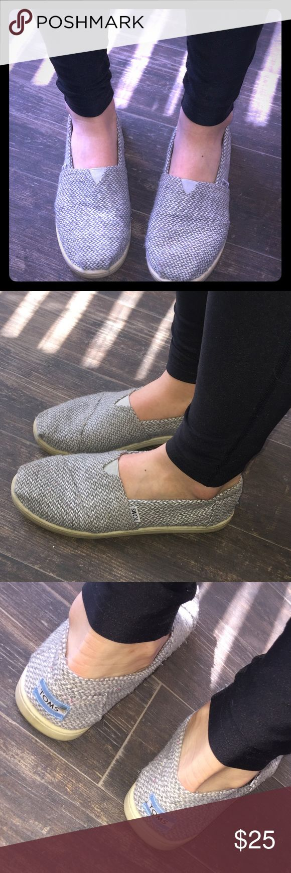 Gray TOMS - Size Y6 (fits 7 1/2 Women's) Good condition, slightly worn, comfortable and breathable..good for everyday wear, also cute pattern on the inside.  Outside is gray, tweed type pattern. My daughter is modeling & she wears women's 7 1/2 TOMS Shoes Espadrilles