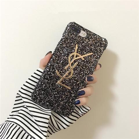 Ysl iphone8 ケース ブランド イブサンローラン iphoneX カバー フラッシュパウダー キラキラ 女子力 iphone7/7plus/6s/6splus セレブ愛用