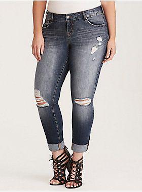 Torrid Premium Stretch Boyfriend Jeans - Light Wash with Destruction | Torrid