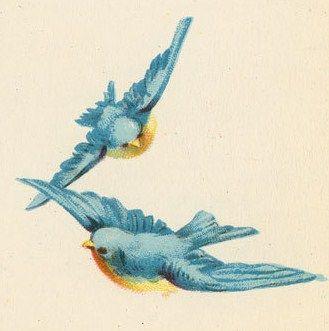 ephemera birds | vintage ephemera blue birds | {Ephemera}