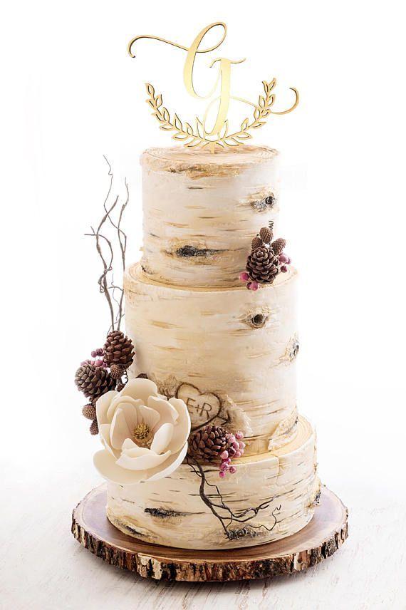 Initials Cake Topper Wedding Monogram Cake Topper Rustic Cake