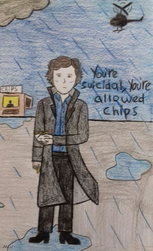 Sherlock is allowed chips by Mordred Llewelyn Jones. #Sherlock #SherlockS4 #Sherlock series 4 #Sherlock S4 #Fanart #Fan art #Sherlock fanart #Sherlock fanart #Sherlock S4 fanart #Sherlock Series 4 fanart #Sherlock S4 fan art #Sherlock series 4 fanart #Sherlock chips #SherlockChips #Lying detective