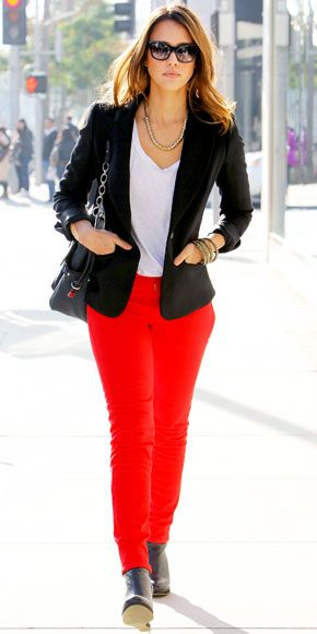 Jessica Alba in red Kate Spade New York jeans