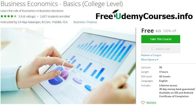 [#Udemy 100% Off] #Business_Economics - Basics (College Level)   About This Course  Published 9/2015English  Course Description  Welcome to the course Business Economics - Basics.  In this course you will learn about Basics of Business Economics which is the need of the hour because of wide gap between Economic Theories and Practices.  Business Economics focuses on bridging the gap because it deals with application of economic theory in Business practices. It is the study of Economic…