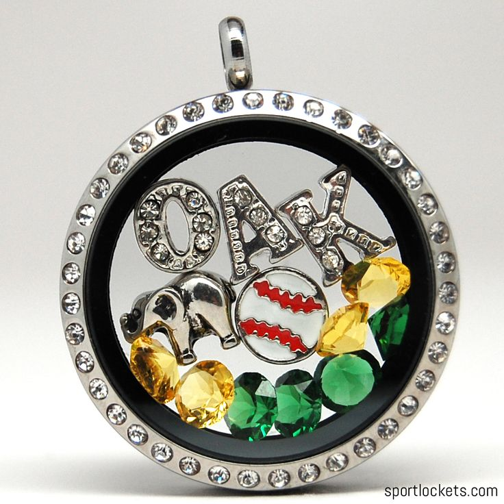 Oakland baseball themed locket necklace from SportLockets.com. Customize with your own letters!