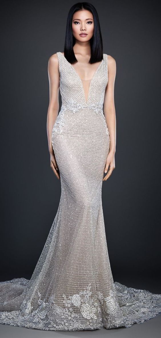 Lazaro Spring 2017 Champagne shimmer checkered net over cashmere chiffon trumpet bridal gown