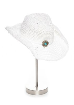 New Directions Women's Crochet Western Hat - White - One Size
