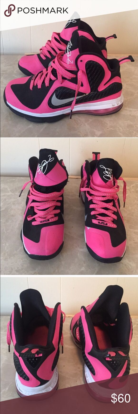 Pink Lebron 9s Pink Lebron 9s Size 6Y. Good condition (8/10) Nike Shoes Sneakers