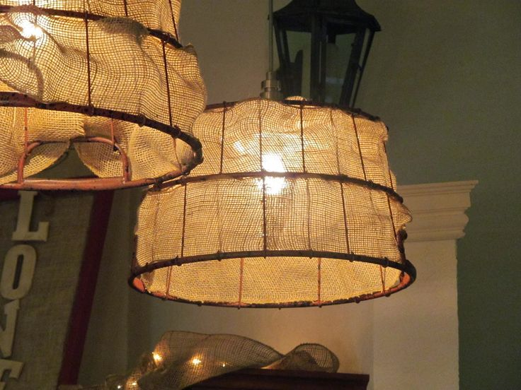 DIY Light Fixtures - Baskets & Burlap Ribbon by RetroRach