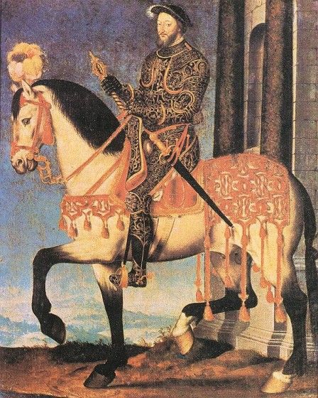 Francisco I de Francia rivalizaba con Enrique VIII en la suntuosidad de sus prendas. Aquí aparece llevando una armadura enjoyada, lujosamente decorada.