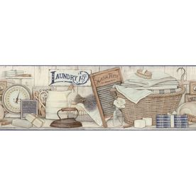 "allen   roth�9"" Neutral Laundry Prepasted Wallpaper Border"