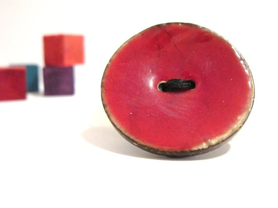Red wood button brooch