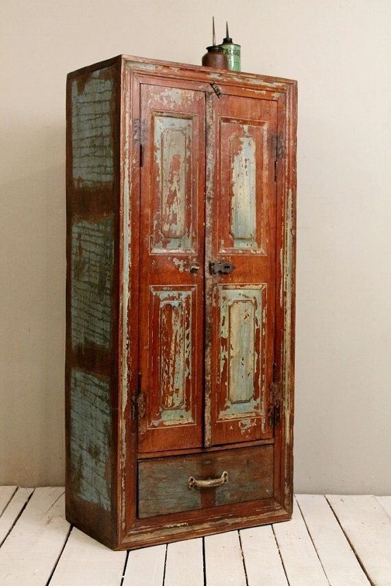 Antique Indian Farm Chic Warm Industrial Green and Brown Indian Bar Storage Kitchen Bathroom Cabinet Media Tower Curio
