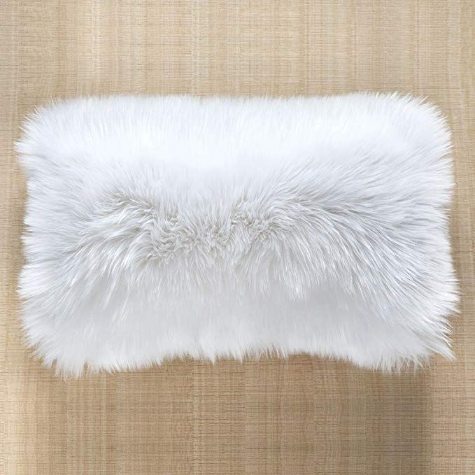 Ojia Faux Fur Throw Pillow Cover Lumbar Cushion Case Super Soft Plush Accent Pillows Case Decorative New Luxury Series Style 12 X 20 Inch Thick White Review Faux Fur Throw Fur