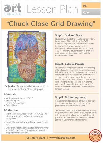 Click to Download Free Lesson Plan: Chuck Close Grid Drawing. -patterns -unity by integrating parts into the whole