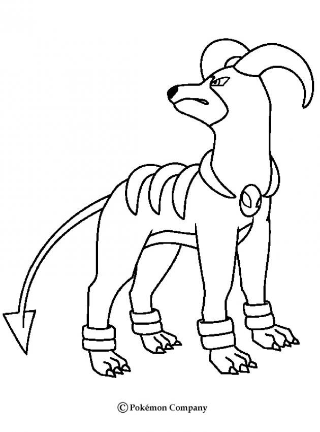 Dark Houndoom Pokemon coloring. More Fire Pokemon Coloring sheets on hellokids.com