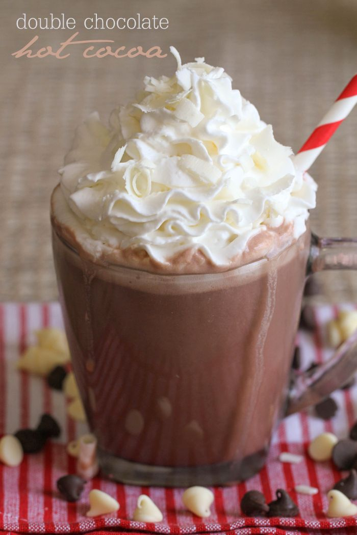 Decadent Double Chocolate Hot Cocoa made with white chocolate chips and chocolate milk. This drink will be your new favorite!