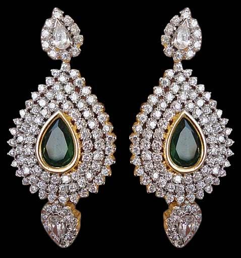 Wedding Earrings, Green Earring, Stone Studded Fashion Earring | $121.42