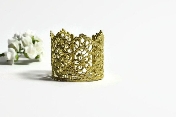 Brass lace bracelet Open cuff Romantic jewelry  Plated by MyElesi
