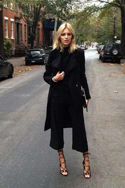 {black on black} black cropped pant + lace up sandal chic
