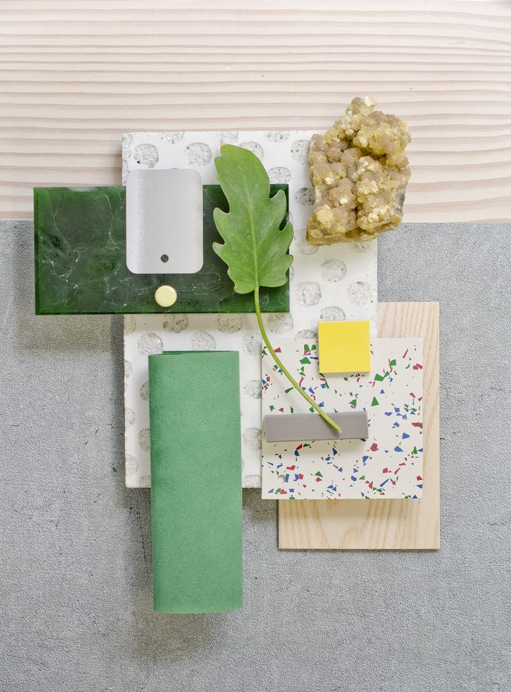 Weekly material mood 〰 Nordic Summer #green #bioglass #suede #leaf #linoleum…