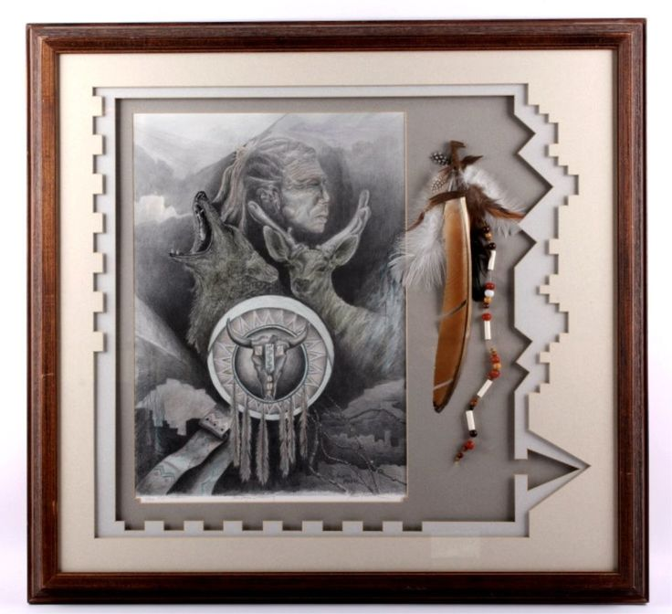 "$80 Lot: Karen Pierre Framed Print ""Two Days Dreaming"" This, Lot Number: 0246A, Starting Bid: $25, Auctioneer: North American Auction Company, Auction: Western Gun Coin Native American Auction, Date: June 14th, 2014 EDT"