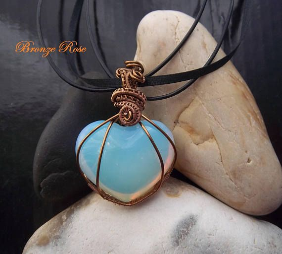 Handmade wire wrapped opalite heart necklace