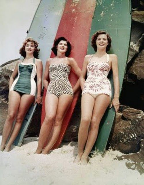 The winners of the Miss Pacific Beauty Pageant at Bondi Beach, 1952. (How great are their swimsuits?)