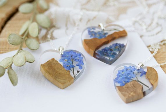 Forget me Nots Necklace  Driftwood Necklace  by ButtonsyJewellery