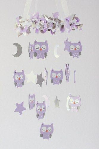 Owl Nursery Mobile in Lavender, White & Gray- Baby Mobile
