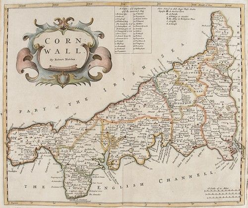 MORDEN, Robert. Cornwall.  Original copper engraved map with later hand colouring from Edmund Gibson's English translation of Camden's Britannia, 1695. #county #maps #antique