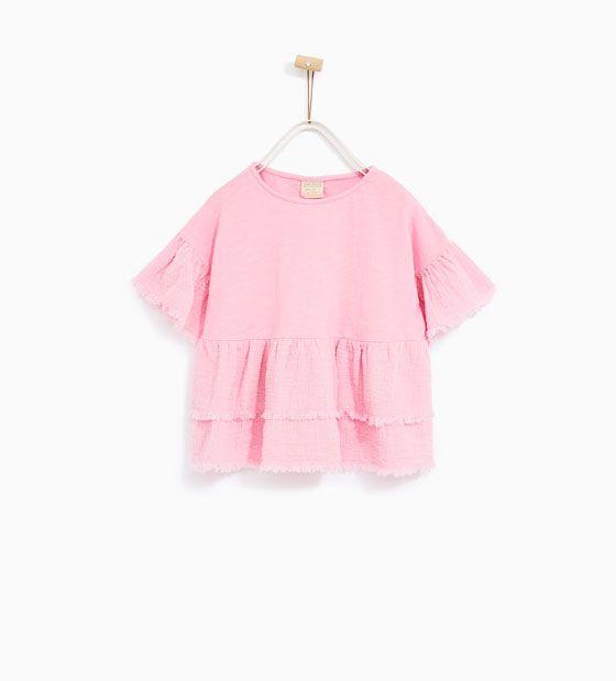 Image 1 of RUFFLED T-SHIRT from Zara