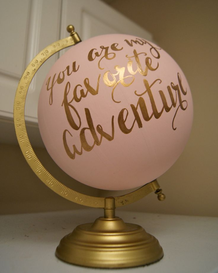 "Hand Painted 12"" Wedding Globe, Shabby Chic, Gold Hand Lettering -- Custom Made…"