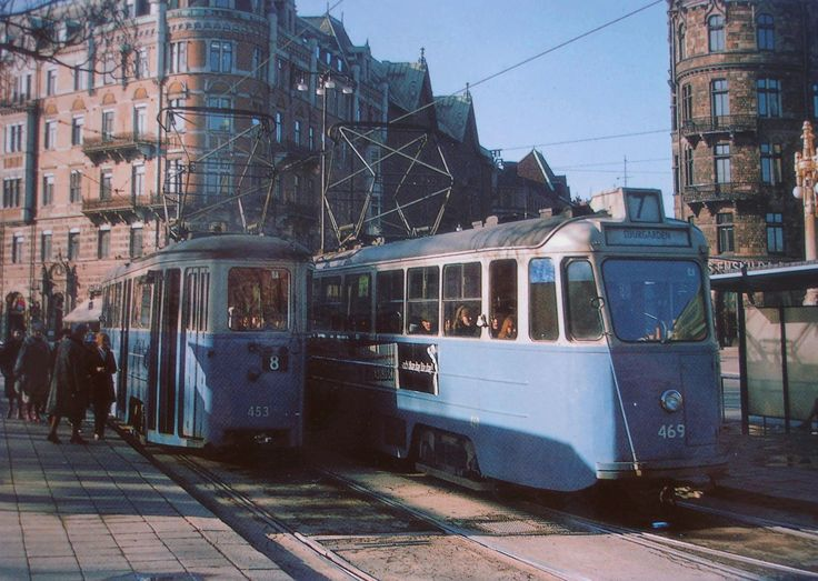 Two trams meet at Nybroplan   in Stockholm around 1965.