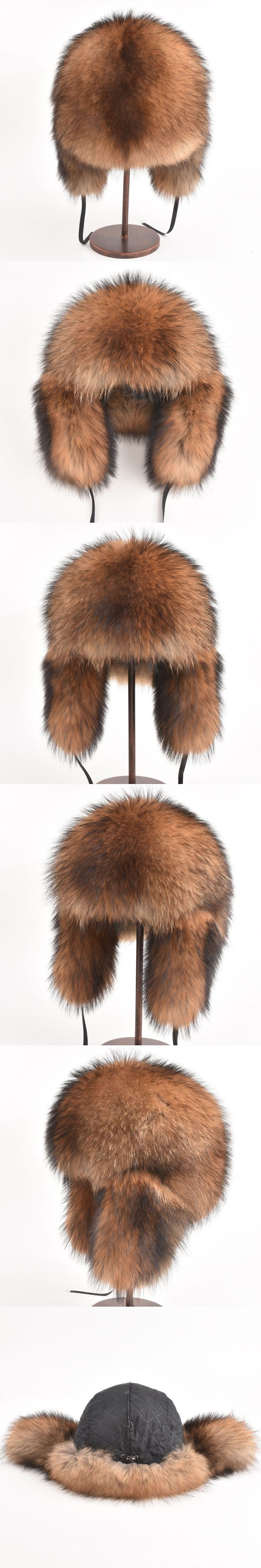 Real Fox Fur hat Bomber Hats Raccoon Fur Hats Women Men Warm Genuine Fur Female Brown Natural Fur Unisex Russian Bomber Winter