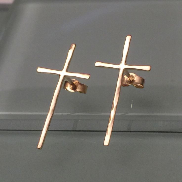 Solid 14k Gold Cross Earrings, 14k Cross Earrings by EllynBlueJewelry on Etsy https://www.etsy.com/listing/246696010/solid-14k-gold-cross-earrings-14k-cross