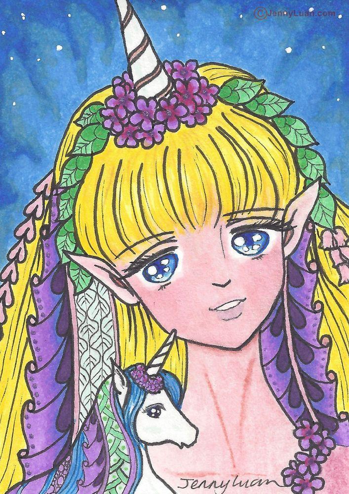 ACEO Original zentangle anime unicorn blond girl drawing