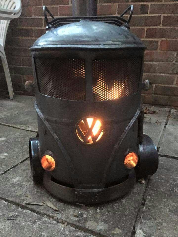 Volkswagen bus fire pit / wood stove