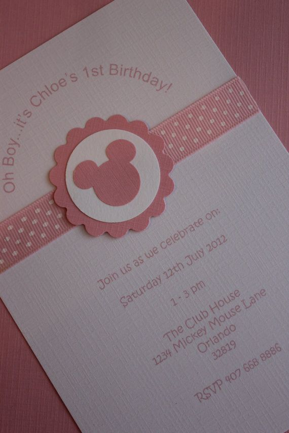 12x Minnie Mouse Invitations with Envelope  by MyPrettyLittleParty, $18.00