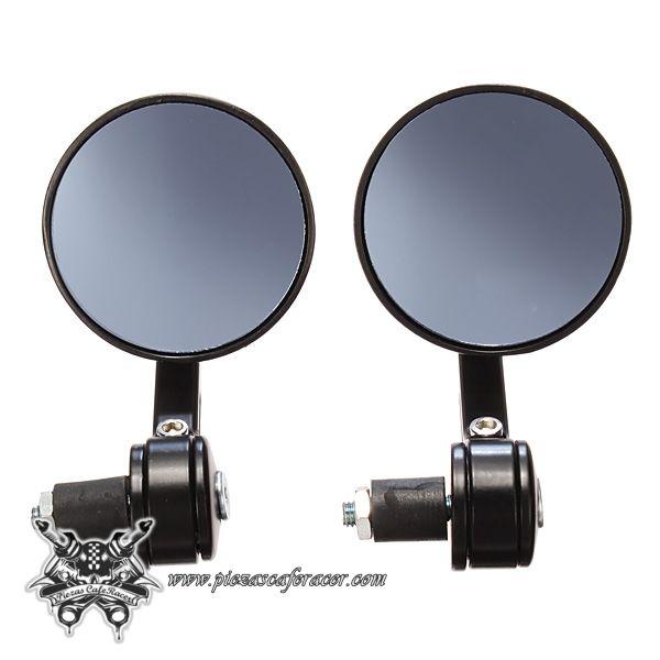 Espejos Retrovisores Moto Para Manillar 22mm *PURO ESTILO CAFERACER* Mecanizados CNC Color Negro -- 19,86€