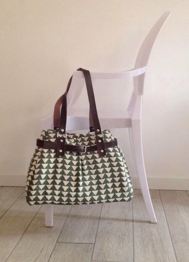 Fabric and leather bag. Handmade in Italy.