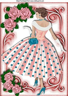 Pretty lady in polka dot dress with pink roses A4 on Craftsuprint - Add To Basket!