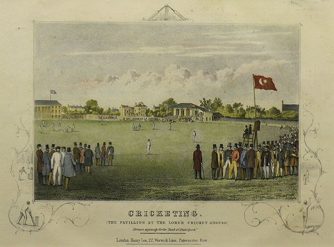 'Cricketing (The Pavillion at the Lords Cricket Ground)' by R. S. Groom, Wilkinson & Co. Lithograph with hand colouring. London: Henry Lea 22, Warwick Lane. c.1863. Size: Image 190 x 265 mm. From the 'Book of Field Sports'.