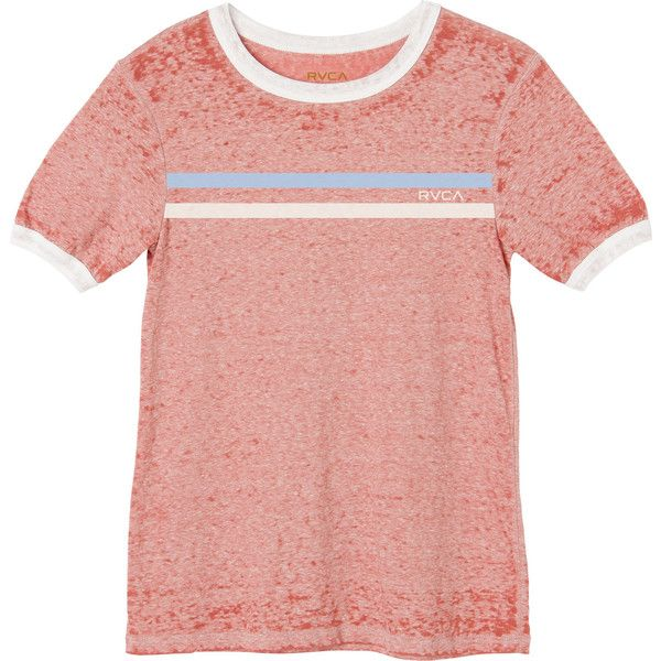 RVCA Women's Stripe Chest Ringer T-Shirt ($29) ❤ liked on Polyvore featuring tops, t-shirts, rustic red, stripe t shirt, red striped t shirt, graphic design t shirts, striped shirt and graphic t shirts