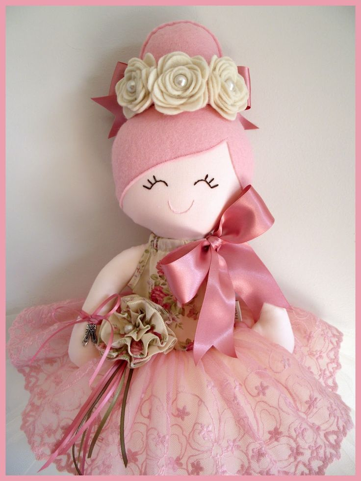 Fiorella♥ Handmade  Doll.....Ballerina $100 Full tulle  tutu w. a delicate dusty pink lace overlay w. satin ribbon tie and  handm...