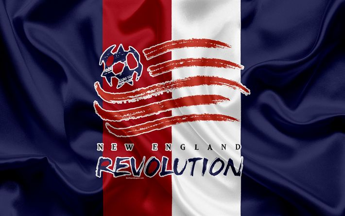 Download imagens New England Revolution FC, Americano Futebol Clube, MLS, EUA, Major League Soccer, emblema, logo, seda bandeira, Foxboro, Estado de Massachusetts, futebol